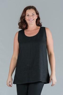 Tesni - Round neck sleeveless linen top - black
