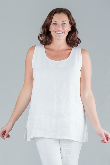 Tesni - White round neck sleeveless linen top - white