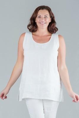 Tesni - White round neck sleeveless linen top - white