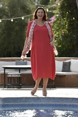 Ronda - Short sleeve red dress
