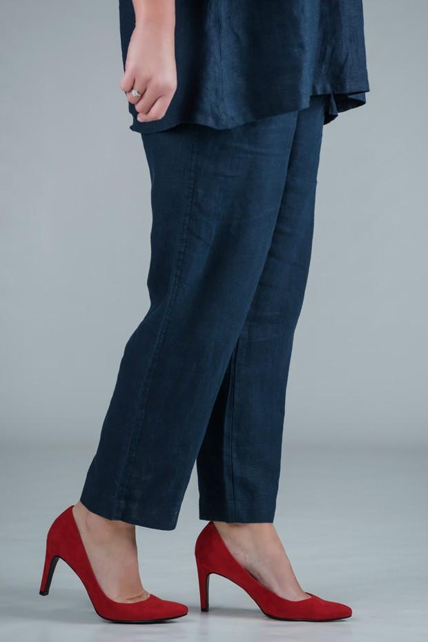 Pamela - Navy linen trousers straight leg - Medium or short length