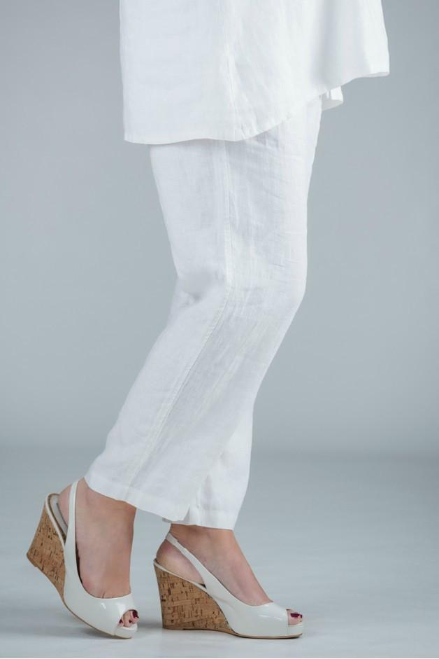 Pamela - White linen trousers straight leg - Medium or short length