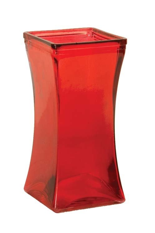 "GP4002RED - 9"" Tall Square Tapered Glass Vase GP4002RED"