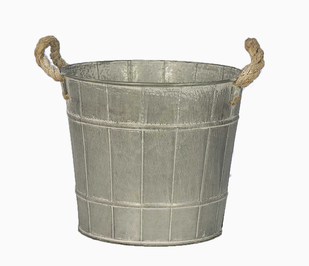 """MTL5001-7 - 7.5"""" Wide X 6.5 Deep Country Wash Tin With Rope Handle MTL5001-7"""