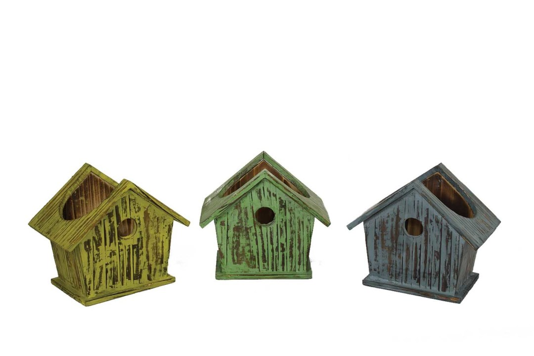 "WB0404 - 3 Assorted Color 7"" wood birdhouses WithLiners WB0404"