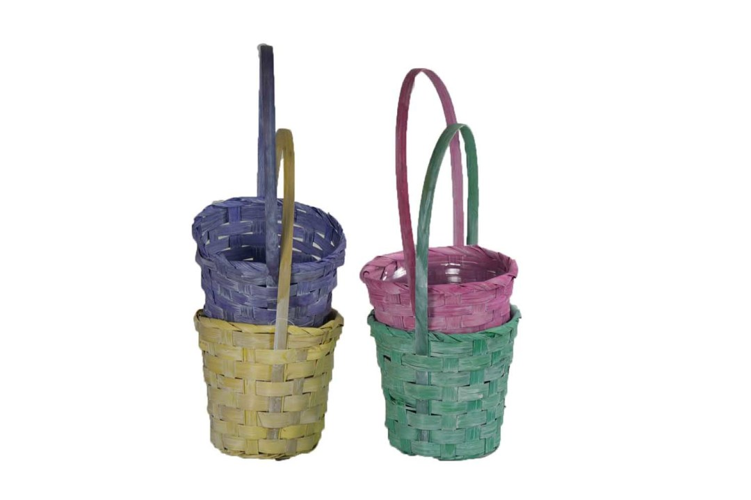 """MS1767CW - 4"""" Assorted Pastel Basket $1.55 each W/L Liner Included (per dozen) MS1767CW"""