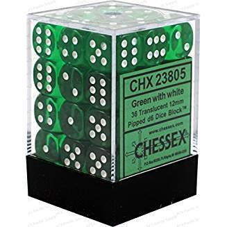 Chessex Translucent Green w/ White 12mm (Small) 36 Dice Set CHX23805