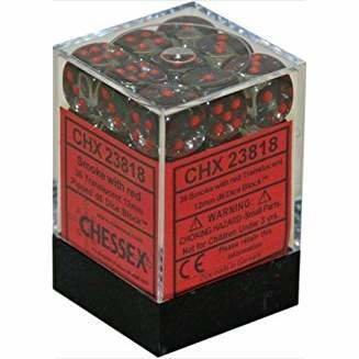Chessex Dice CHX 23818 Translucent 12mm D6 Smoke w/ Red Set of 36