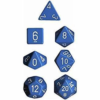 CHX25416 Polyhedral 7-Die Set: Opaque: Light Blue/White