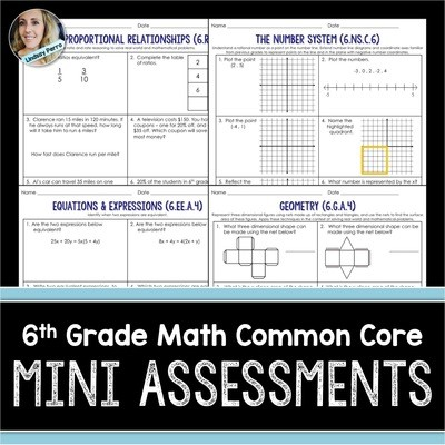 6th Grade Math Mini Assessments
