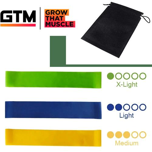 Set of 3 Resistance Bands Latex Gym Strength Training Extra Light, Light, Medium