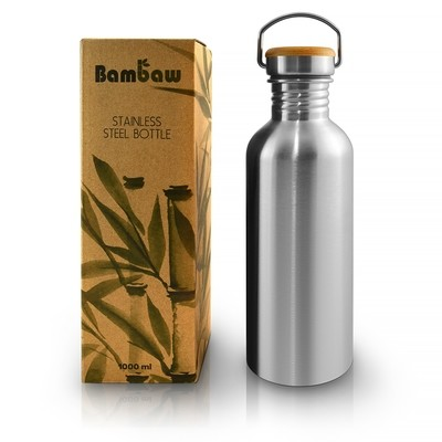 Stainless steel waterbottle 1L with bamboo cap