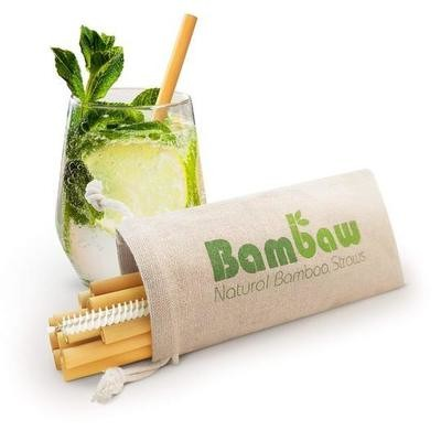 12 Short cocktail bamboo straws