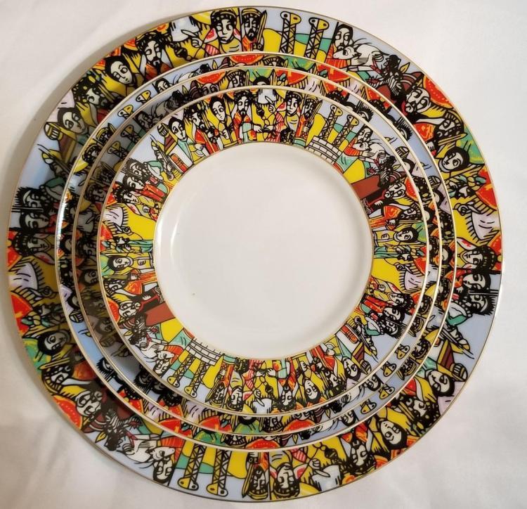 Ethiopian/Eritrean Dinner Plate Set- Queen Sheba Design / (ንግስተ ፡ ሳባ) 20 PCS 00054