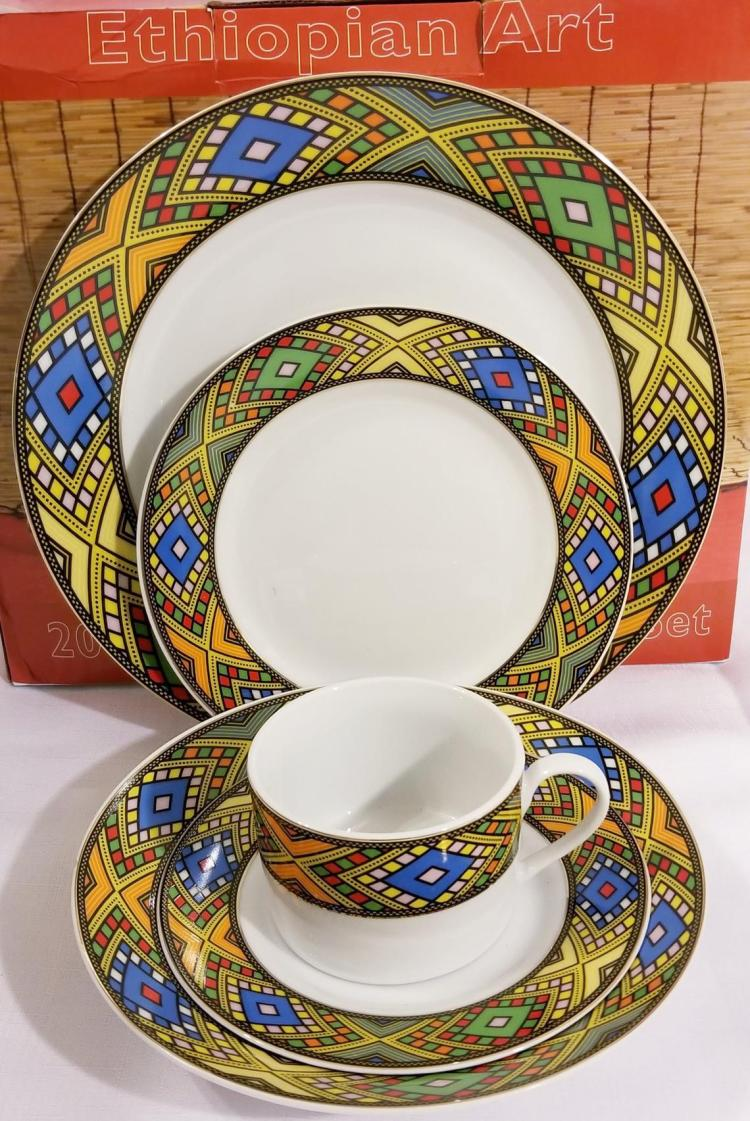 Ethiopian / Eritrean Dinner Plate Set የምግብ ሳህን , Tílét (ጥለት) Edition 20 Pieces 00053