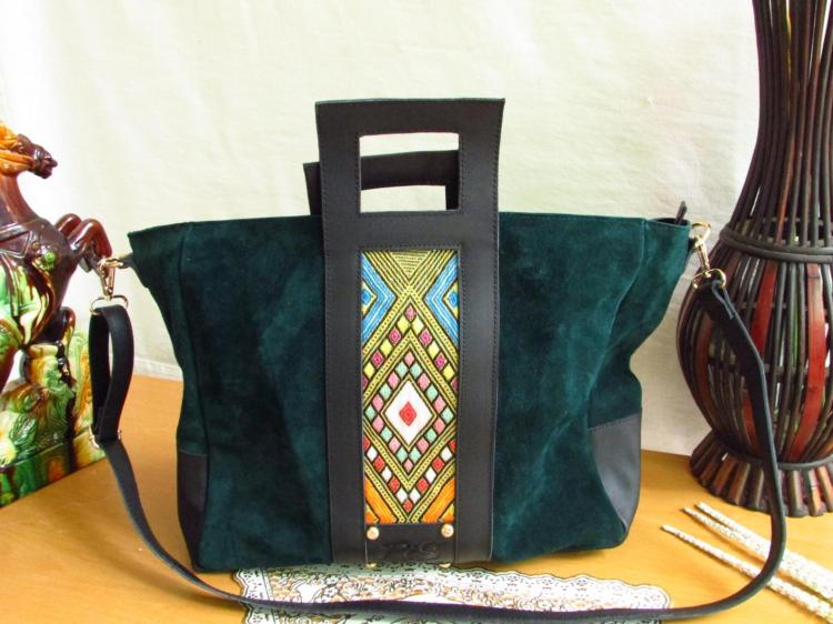 Green Suede Leather Women Tote Bag 00101