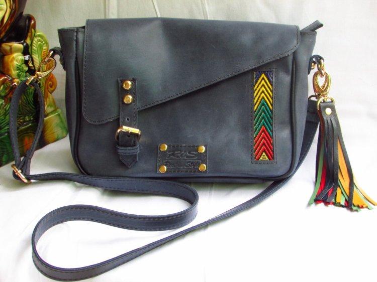 Blue Leather Messenger Bag 00102