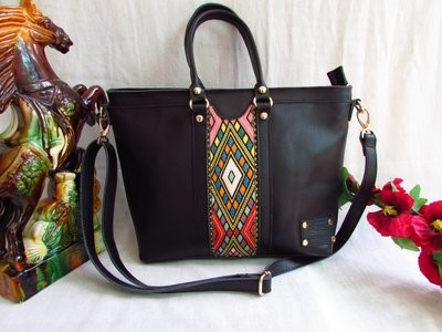 Black Leather women handbag