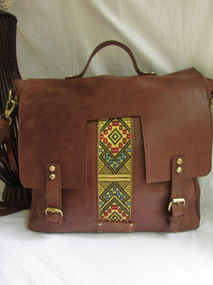 Brown leather laptop bag for men 00107