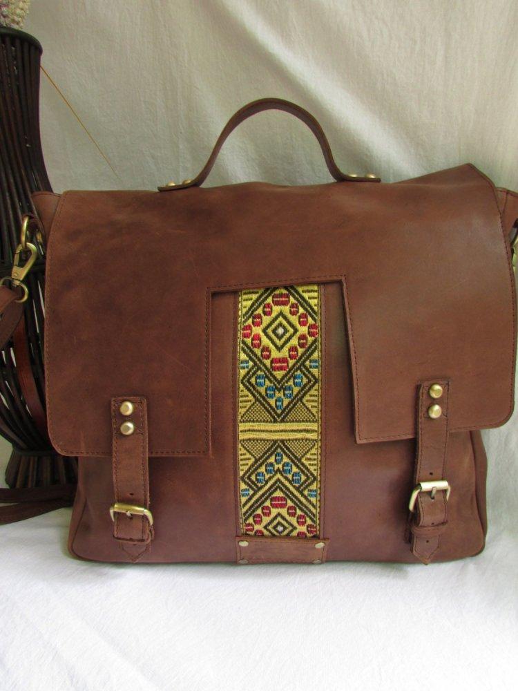 Brown leather laptop bag for men 00107