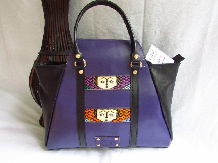 Purple leather handbag for women 00109