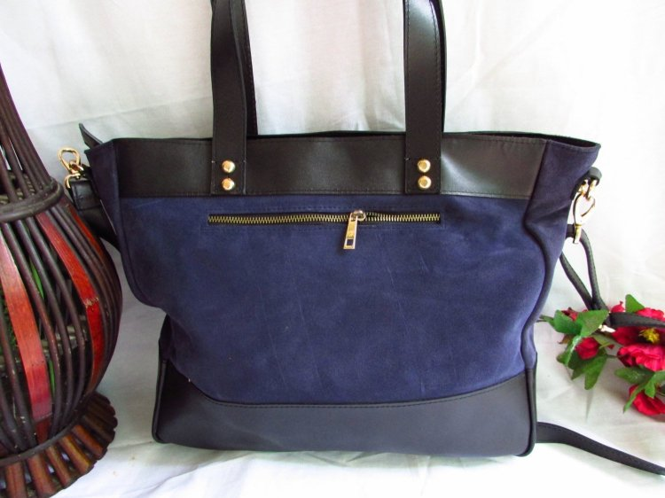 Purple leather tote
