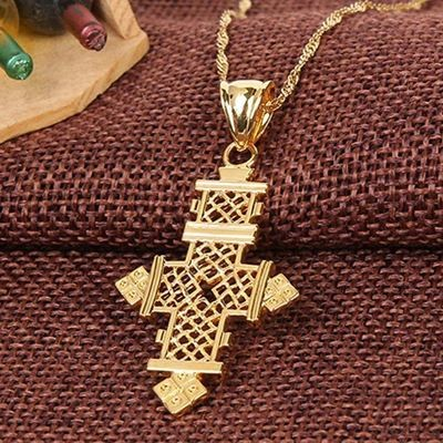 መስቀል ሐብል Gold Plated Filled Ethiopian Cross Pendant Necklaces Chain