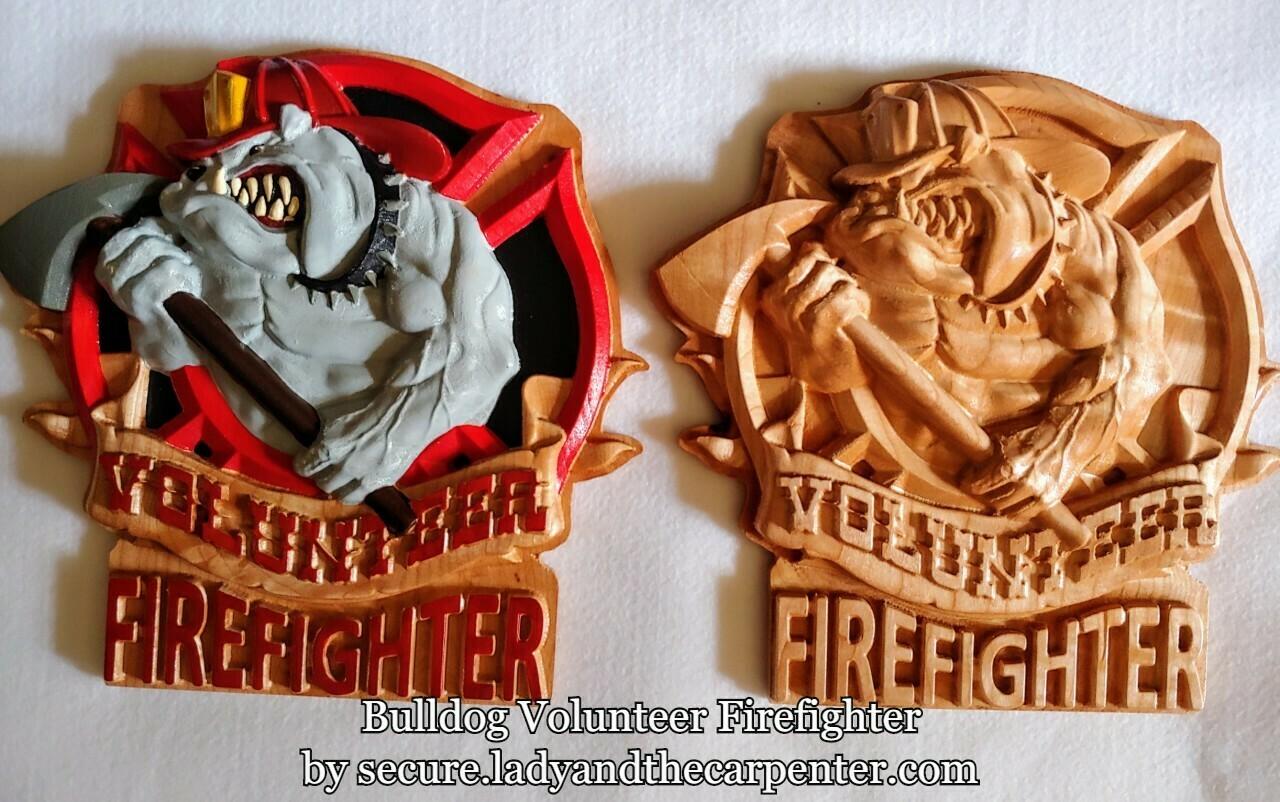 Bulldog Volunteer Firefighter 3D Wall Art