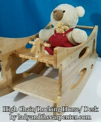 Amish 3 in 1 High chair/ Rocking Horse/ Desk