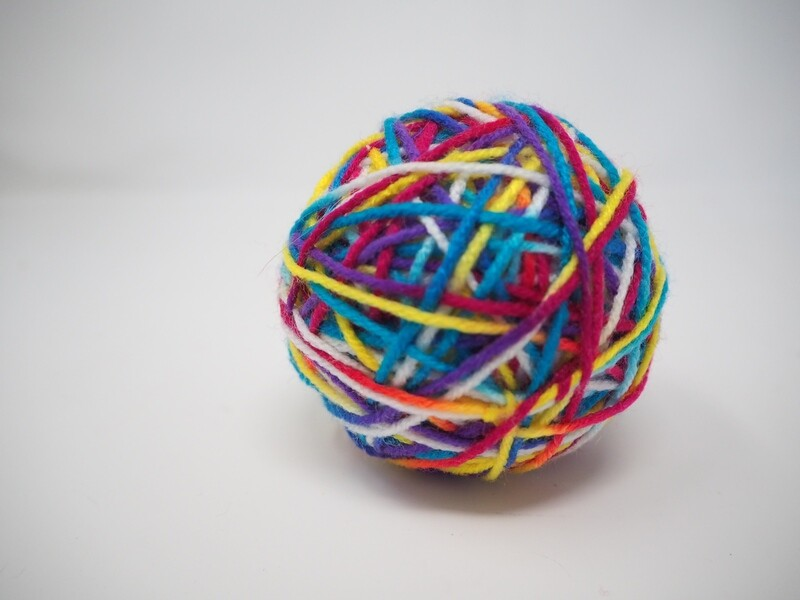 Large Fun Colorful Ball Covered in Multi-Color Yarn