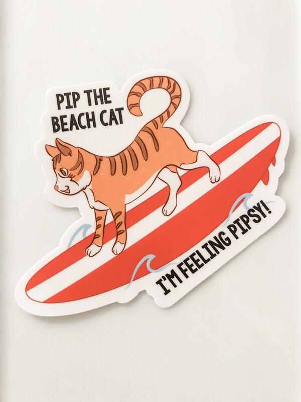Pip on Surfboard Sticker