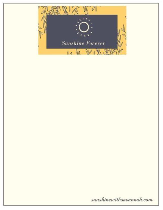 Sunshine Forever Notepad
