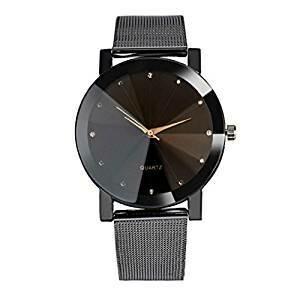 Convexe Cadran De Poignet En Cuir Quartz Horloge Ronde Montre
