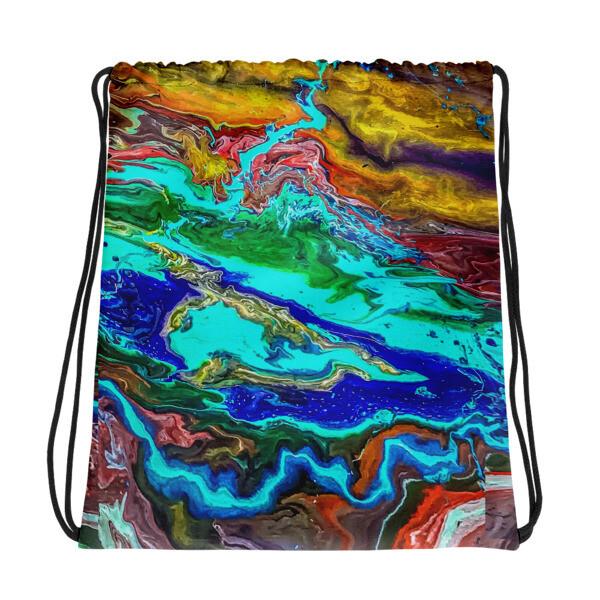 On the Bayou Art Printed Drawstring bag