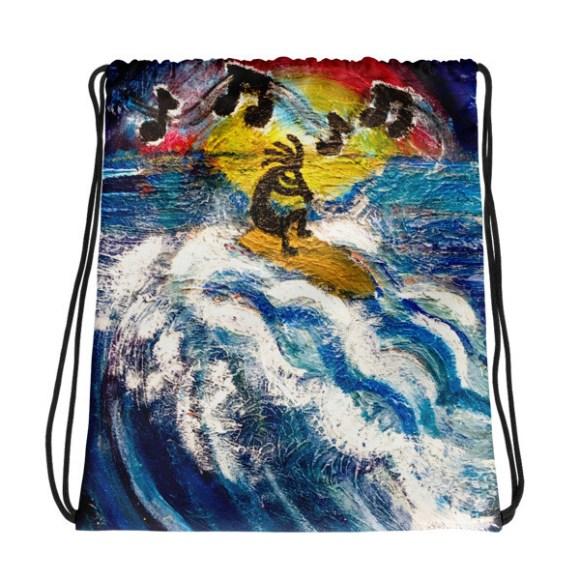 Surf's Up, Kokopelli Printed Drawstring bag