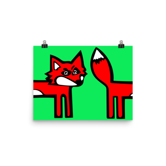 Confused Fox Poster (Green)