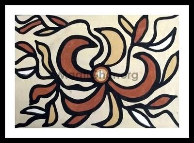 Sohrai Painting - Flower (22x15 in)