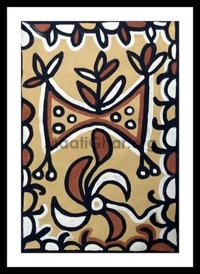 Sohrai Painting - Bull 3 (22x15 in)