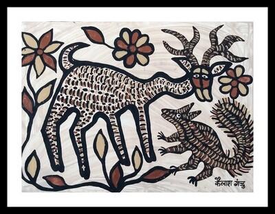 Sohrai Painting - Deer (30x22 in)