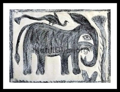 Khovar Painting - Elephant with Bird (15x11 in)