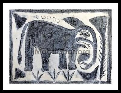 Khovar Painting - Elephant (15x11 in)