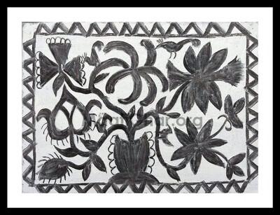 Khovar Painting - Flower Pot (15x11 in)