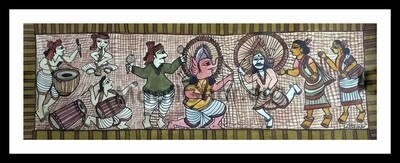 Paitkar Painting - Chhou Dance (30x10.5 in)