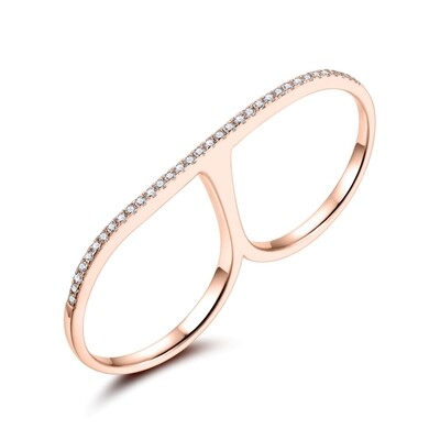 Sterling Silver Double Finger Ring with Cubic Zirconia covered with 18-karat Rose Gold