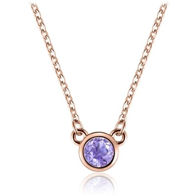 Sterling Silver Necklace with Natural Pink Amethyst Covered with 18-karat Rose Gold