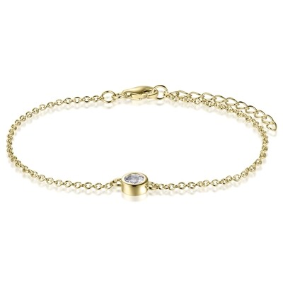 Sterling Silver Bracelet with Natural White Topaz Covered with 18-karat Yellow Gold