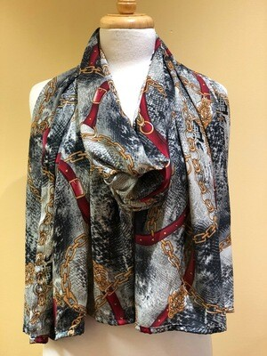 Royal Chain Print Long Scarf