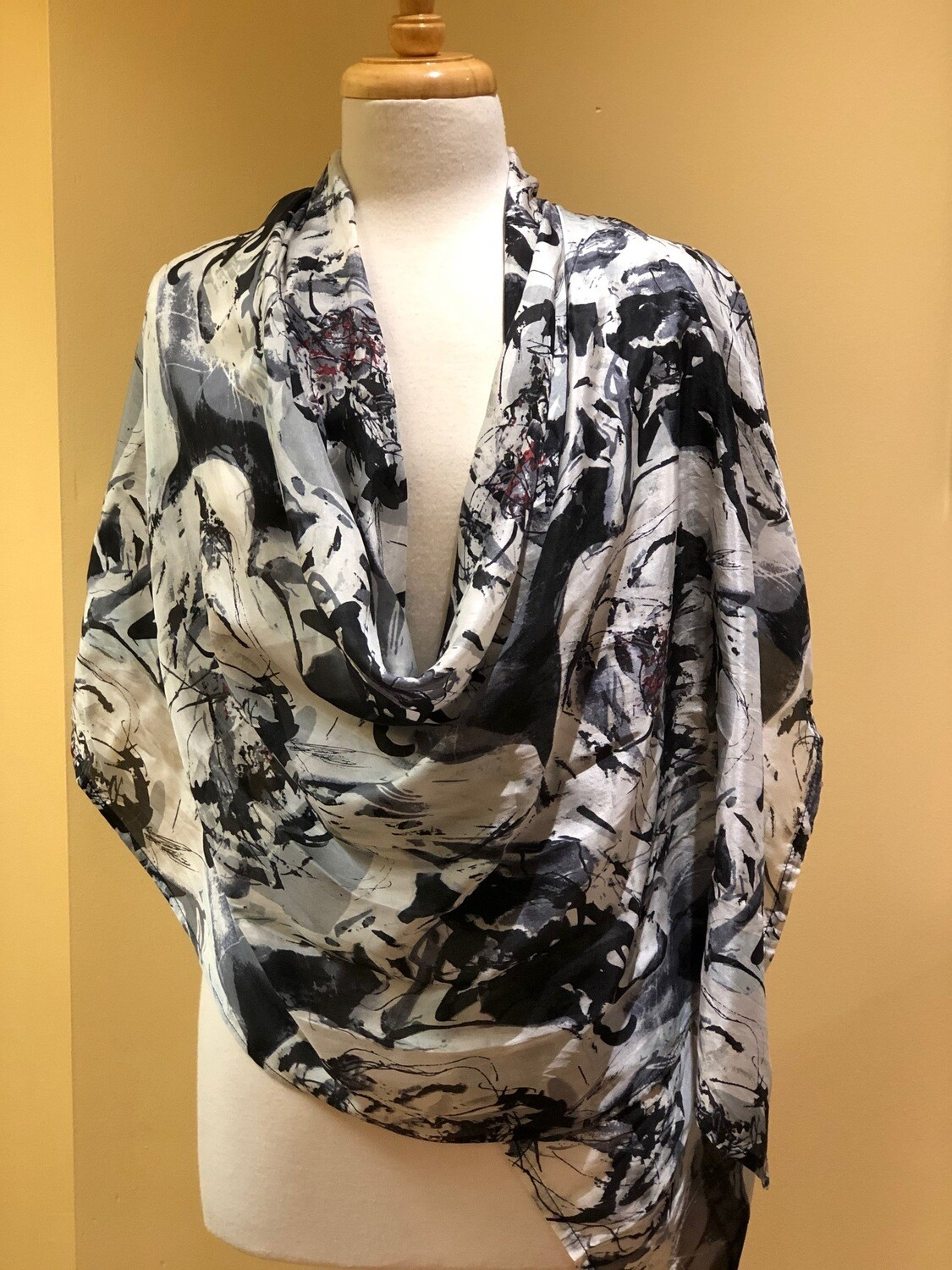 Marble 100% Silk Long Scarf