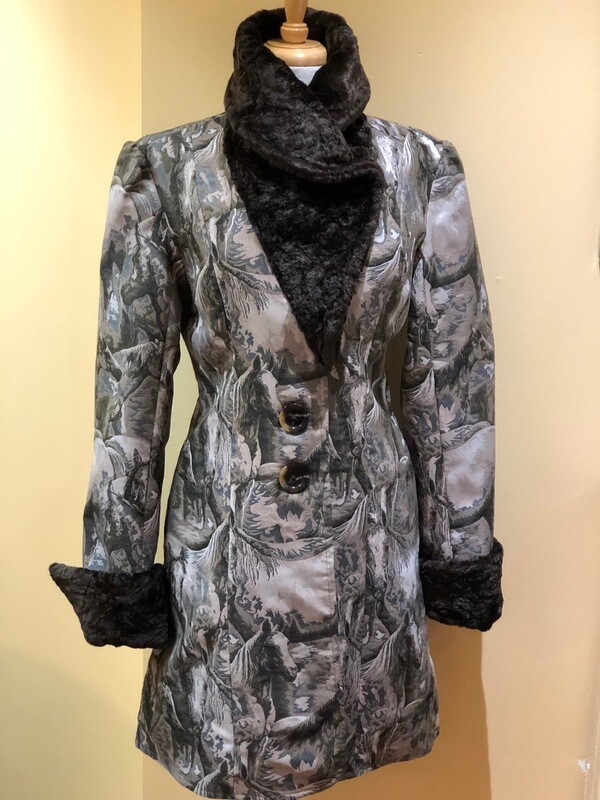 Horse Design Coat with Faux Fur Chinchilla Collar and Cuffs