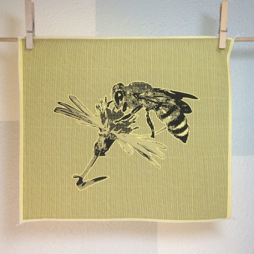 Honeybee - Hand Printed Fabric Panel FP0014